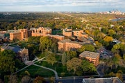 An overhead view of the University of St. Thomas campus in St. Paul.