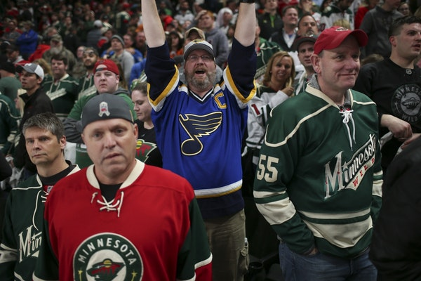 Wild fans were glum when St. Louis pulled off a 2-1 overtime win in Game 1 of their series.