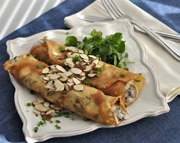 Wild Rice Crepes with Chicken and Mushrooms.