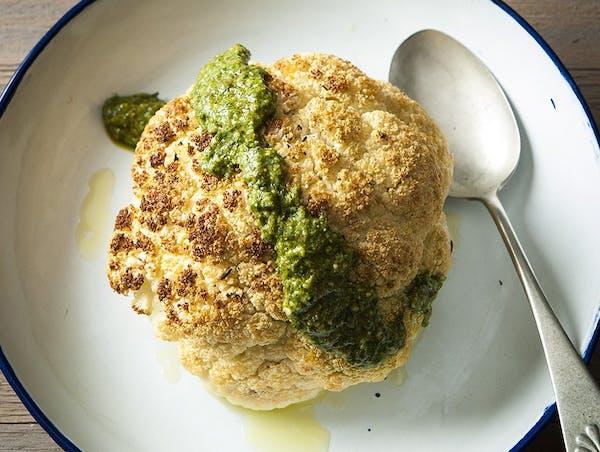 Whole Roasted Cauliflower With Parsley Pesto.