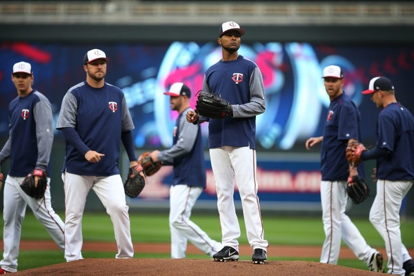 The Minnesota Twins pitcher Ervin Santana prepared for his opening day.