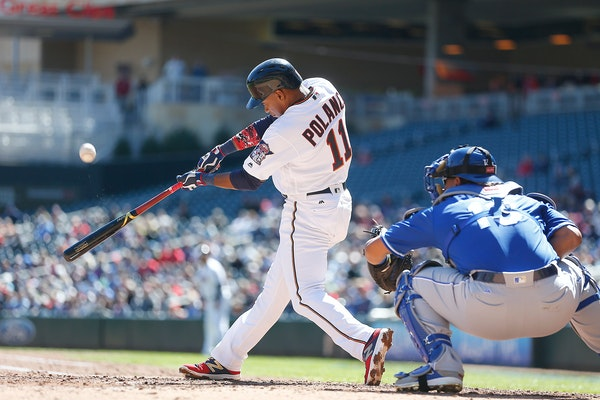 Twins Jorge Polanco hit the ball during the second inning as the Twins took on the Royals at Target Field, Thursday, April 6, 2017