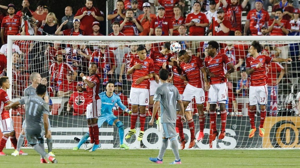 FC Dallas blocks a penalty kick during the second half of an MLS soccer game against Minnesota United in Frisco, Texas, Saturday, April 8, 2017. (Stew