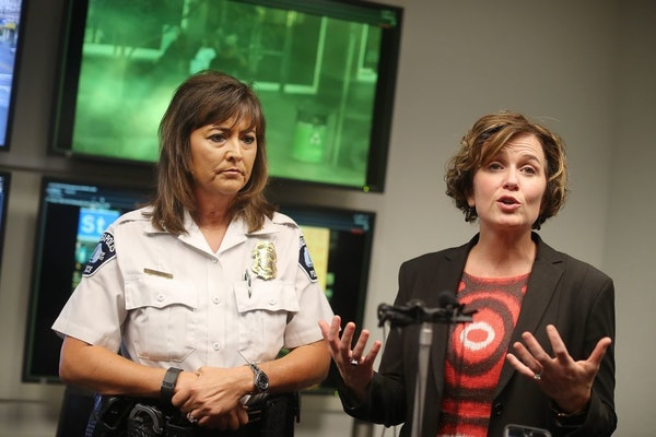 Minneapolis Mayor Betsy Hodges and Chief Janee Harteau in October at a news conference to address downtown crime following shootings that left six inj