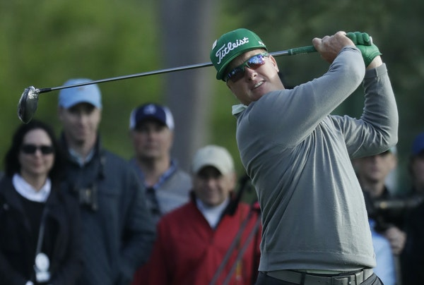 Charley Hoffman hits a drive on the 18th hole during the first round for the Masters golf tournament Thursday, April 6, 2017, in Augusta, Ga. (AP Phot