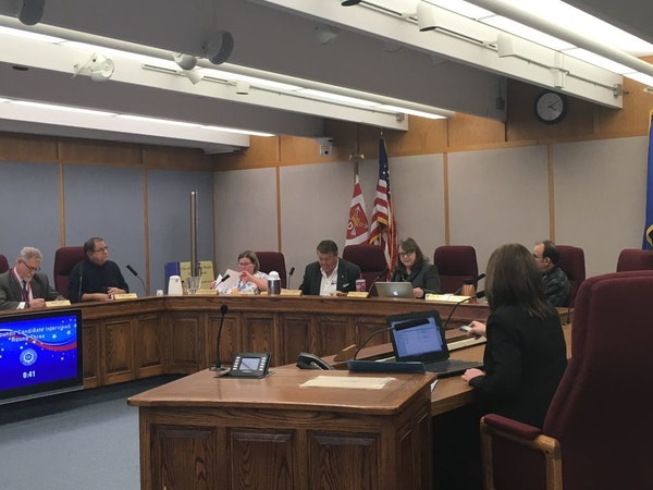 Columbia Heights city leaders discuss the vacant Council seat at a special meeting April 3.