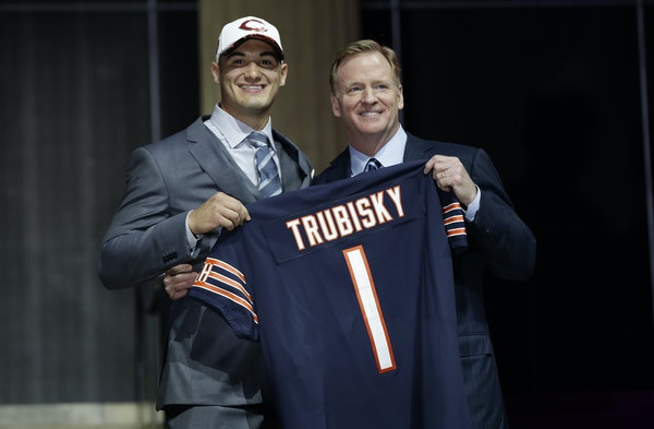 North Carolina's Mitchell Trubisky posed with NFL Commissioner Roger Goodell after being selected No. 2 overall by the Bears on Thursday in Philadel