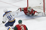 The Blues' Vladimir Tarasenko scored against Wild goalie Devan Dubnyk during a 2-1 St. Louis victory on March 7. He is out for revenge for the 2015 pl