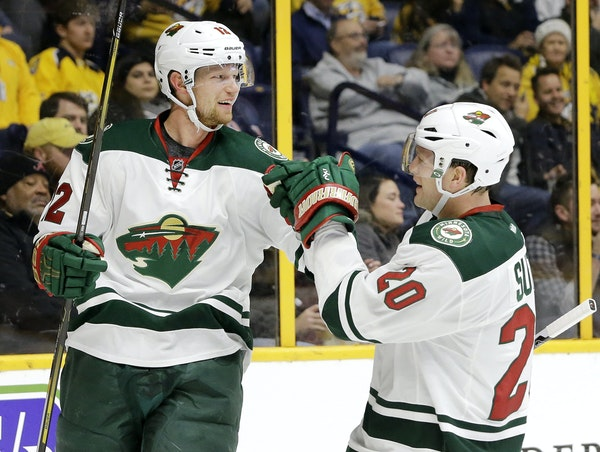 """Should the Wild rest Eric Staal, left, and Ryan Suter? """"Yes and no,"""" says Michael Russo."""