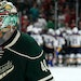 Minnesota Wild goalie Devan Dubnyk skates off the ice after a series-clinching 4-3 overtime loss to the St. Louis Blues in Game 5 of the Western Confe