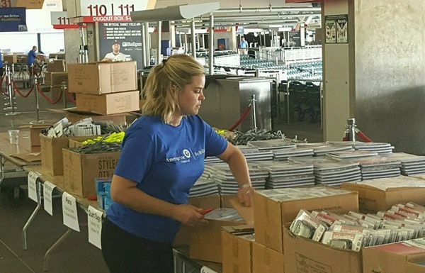 Volunteer Megan Yoshida organized school supplies for the the Greater Twin Cities United Way's 6th Annual Action Day on Aug. 18, 2016.