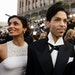FILE - In this Feb. 27, 2005 file photo, singer Prince arrives with his wife Manuela Testolini for the 77th Academy Awards in Los Angeles.