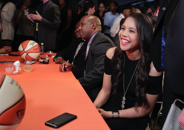 Nia Coffey reacts after being selected as the fifth overall pick in the WNBA basketball draft by the San Antonio Stars, Thursday, April 13, 2017, in N