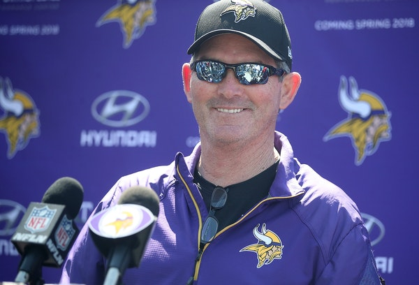 Minnesota Vikings head coach Mike Zimmer addressed the press a news conference during the first day of Vikings rookie minicamp at Winter Park, Friday,