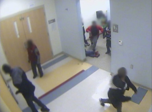 Surveillance video of 8-year-old boy getting knocked down at school