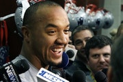 New England Patriots wide receiver Michael Floyd speaks to media at his locker after NFL football practice, Wednesday, Jan. 11, 2017, in Foxborough, M