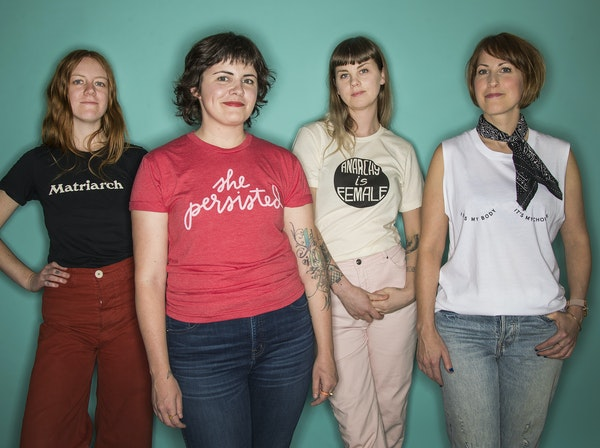 For her, by her: The Twin Cities have seen a boom of fashionable feminist T-shirts from local designers. From left: designers Maddy Nye, Chelsea Brink