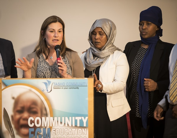 Rep. Mary Franson spoke Thursday in Minneapolis during a community education awareness meeting about female genital mutilation. To her right are FGM s