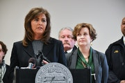 Minneapolis Police Chief Janee Harteau, left, with Mayor Betsy Hodges in March.