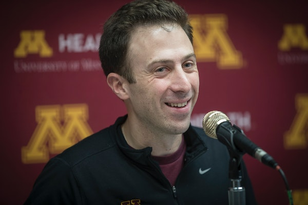 Gophers basketball coach Richard Pitino met with the media before the Gophers headed for the opening round of the NCAA tournament in Milwaukee