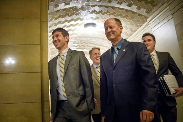 Senate Deputy Majority Leader Jeremy Miller and Senate Majority Leader Paul Gazelka arrived at the Governor's Cabinet room for budget negotiations.