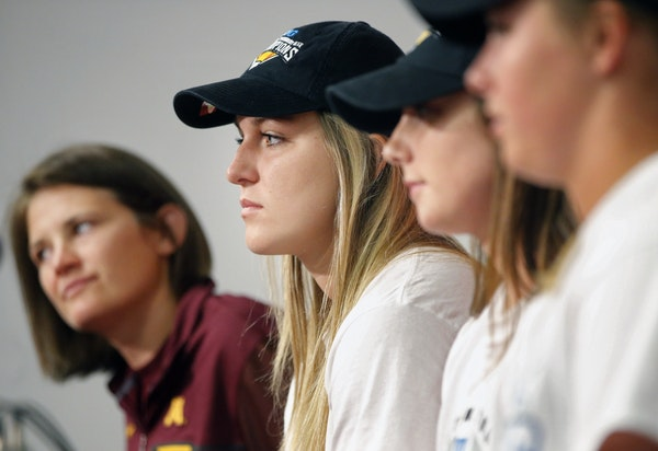 Head coach Jessica Allister, left, and Gophers players Kendyl Lindaman, Maddie Houlihan, and Sydney Dwyer said Monday they will use the team's seeding