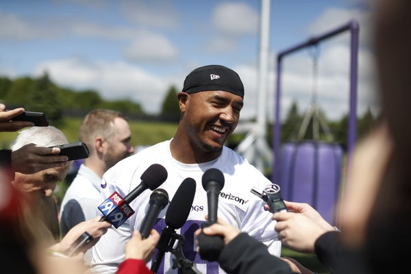 Michael Floyd talked with the media after the Vikings first organized full-team practice of the offseason at Winter Park Wednesday May 23, 2017 in Ede