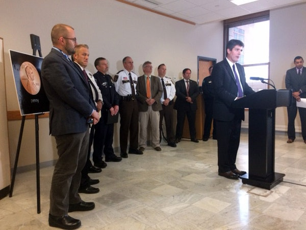 Dr. Andrew Baker of the Hennepin County Medical Examiner's Office at a 2017 news conference about confirmed cases of carfentanil overdoses.
