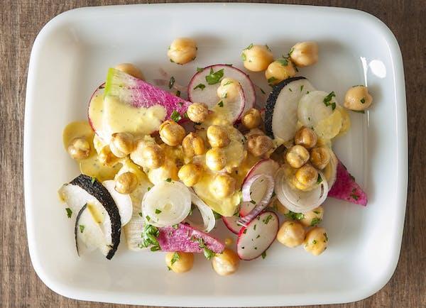 Mixed Radishes and Chickpea Salad With Tahini-Lemon Dressing.