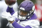 Vikings wide receiver Stefon Diggs hauled in a pass during Wednesday's organized team activities at Winter Park.