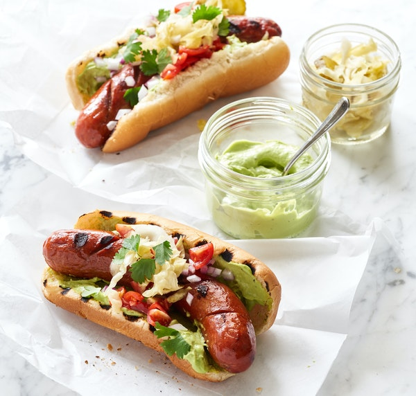 Patagonia Hot Dogs With Avocado Mayo.