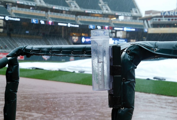 A water collects in a rain gauge at Target Field as rain forced the postponement of a game between the Twins and the Royals on Saturday. The game will
