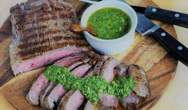 Grilled Flank Steak with Italian Salsa Verde.
