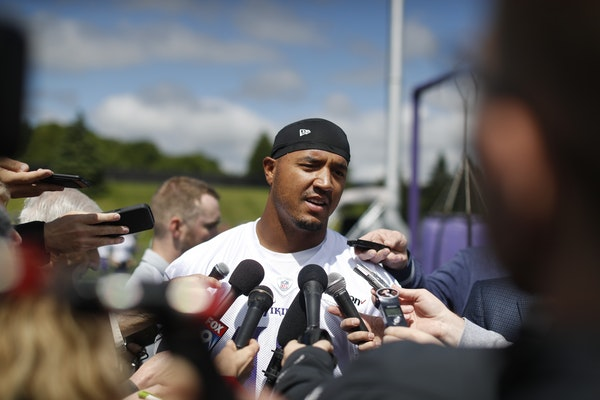 Michael Floyd talked with the media after the Vikings first organized full-team practice of the offseason at Winter Park on May 23, 2017 in Eden Prair