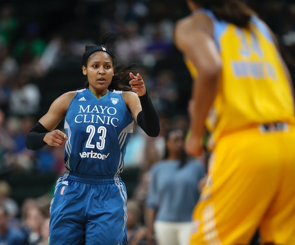 Minnesota Lynx forward Maya Moore (23) gave credit to a teammate for putting in her rebound in the second quarter.