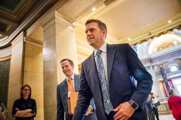 House Speaker Kurt Daudt, front, was sued by two colleagues over the pay raise for lawmakers approved by a citizen commission.