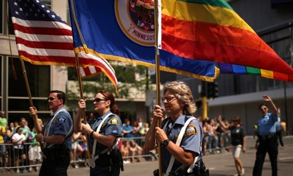 Officers from Minneapolis and St. Paul police departments led the Twin Cities Pride parade down Hennepin Avenue in 2015.