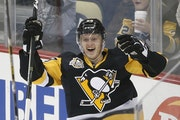 Jake Guentzel scored a goal on his first NHL shot this season.
