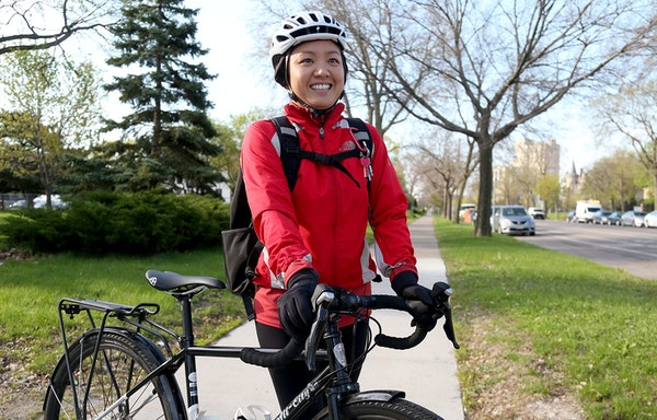 Yen Smith was among cyclists encountered in Minneapolis, talking about their lives and its impact.