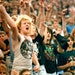 July 11, 1988: Fans cheer on Metallica, during the Monsters of Rock Tour at the Metrodome.