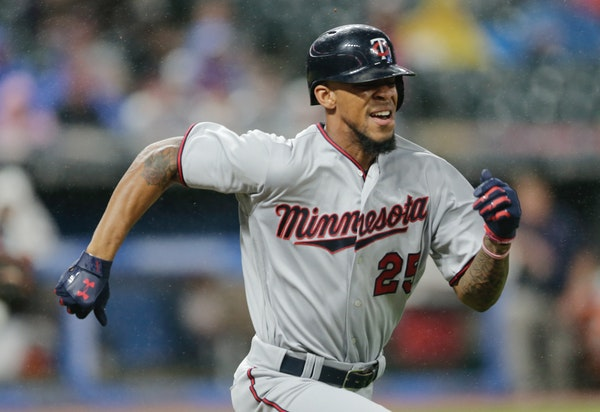 Minnesota Twins' Byron Buxton runs out a single after a bunt in the seventh inning of a baseball game against the Cleveland Indians, Friday, June 23,