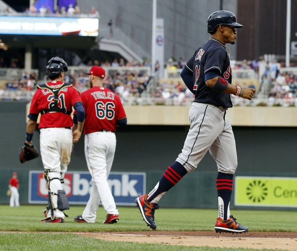 Cleveland shortstop Francisco Lindor jogged home on a three-run homer by Edwin Encarnacion as Twins catcher Jason Castro met with lefthander Nik Turle