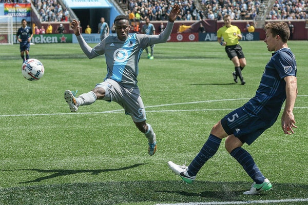 Minnesota United rookie forward Abu Danladi (9), shown here in a May 7 match against Sporting Kansas City, left Sunday's 2-1 loss to Los Angeles in