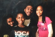 Ny'kia Williams, far right, with her dad, Maurice Verser, and her siblings, Maurice and Renee