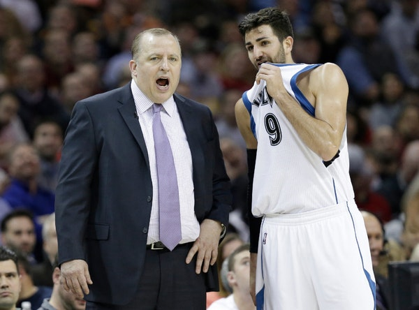 Minnesota Timberwolves head coach Tom Thibodeau, left, talks with Ricky Rubio in the second half of a game in February.