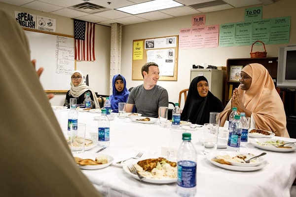 Facebook CEO Mark Zuckerberg posted a photo of himself and Somali refugees sharing an Iftar dinner in Minneapolis Thursday night.