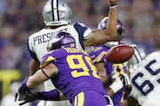 Defensive end Brian Robison, forcing a fumble by Cowboys quarterback Dak Prescott in December, finished with 7½ sacks and three forced fumbles in
