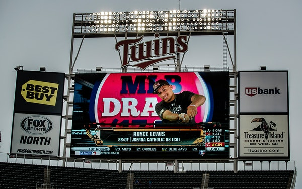 Royce Lewis was projected on the big screen at Target Field after being selected first overall in the 2017 MLB draft by the Minnesota Twins.