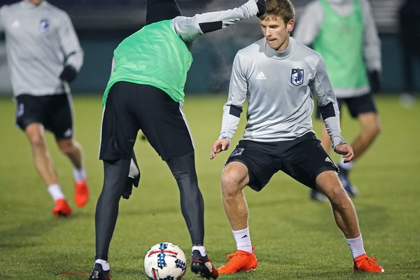 Minnesota United FC's Collin Martin practiced at Merlo Field at the Clive Charles Soccer Complex at the University of Portland, Tuesday, February 7, 2