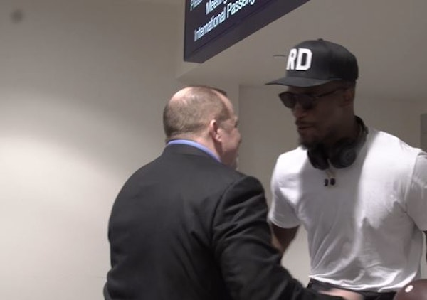Wolves coach Tom Thibodeau greeted Jimmy Butler when he arrived at the airport on Sunday. The photo is fromt a video of the scene shot by the Timberwo